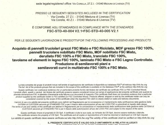 Certificazioni: LA POLITICA AZIENDALE PER LA GESTIONE DEI SISTEMI FSC® E PEFC™